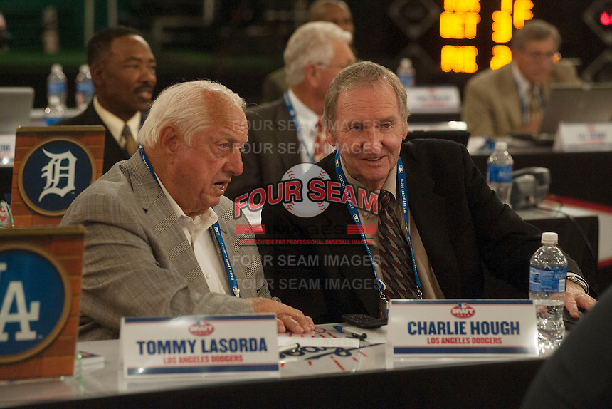 Los Angeles Dodgers Representatives Hall of Famer Tommy Lasorda and Charlie Hough during the MLB Draft on Thursday June 05,2014 at Studio 42 in Secaucus, NJ.   (Tomasso DeRosa/ Four Seam Images)