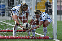 Stefania Tarenzi of FC Internazionale celebrates with Caroline Moller after scoring the goal of 3-1 for her side during the Women Serie A football match between AS Roma and FC Internazionale at stadio Agostino Di Bartolomei, Roma, March 20th, 2021. AS Roma won 4-3 over FC Internazionale. Photo Andrea Staccioli / Insidefoto