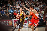 VALENCIA, SPAIN - APRIL 24: San Miguel, Jordi Trias during ENDESA LEAGUE match between Valencia Basket Club and Iberostar Gran Canaria at Fonteta Stadium on April, 2016 in Valencia, Spain