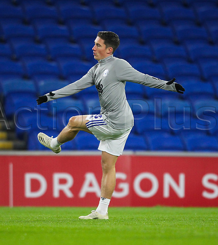 3rd November 2020; Cardiff City Stadium, Cardiff, Glamorgan, Wales; English Football League Championship Football, Cardiff City versus Barnsley; Harry Wilson of Cardiff City warms up before the match