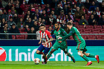 Angel Correa (L) of Atletico de Madrid fights for the ball with Manuel Fernandes (C) and Igor Denisov of FC Lokomotiv Moscow during the UEFA Europa League 2017-18 Round of 16 (1st leg) match between Atletico de Madrid and FC Lokomotiv Moscow at Wanda Metropolitano  on March 08 2018 in Madrid, Spain. Photo by Diego Souto / Power Sport Images