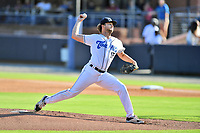Asheville Tourists starting pitcher Matt Ruppenthal (17) delivers a pitch during a game against the Greenville Drive on July 16, 2021 at McCormick Field in Asheville, NC. (Tony Farlow/Four Seam Images)