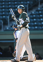 Shortstop Ryan Richardson (10) of the Michigan State Spartans hits in a game against the Northwestern Wildcats on Sunday, February 17, 2013, at Fluor Field at the West End in Greenville, South Carolina. Michigan State won, 7-4. (Tom Priddy/Four Seam Images)