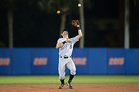 Wake Forest Demon Deacons second baseman Jake Mueller (6) settles under a pop fly during the game against the Florida Gators in Game One of the Gainesville Super Regional of the 2017 College World Series at Alfred McKethan Stadium at Perry Field on June 10, 2017 in Gainesville, Florida.  The Gators defeated the Demon Deacons 2-1 in 11 innings.  (Brian Westerholt/Four Seam Images)
