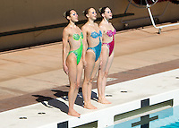STANFORD, CA - February 21, 2015: Stanford Women's Synchronized Swimming vs Lindenwood University at Avery Aquatic Center on the campus of Stanford University