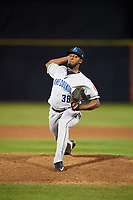 Lake County Captains relief pitcher Domingo Jimenez (38) delivers a pitch during a game against the Quad Cities River Bandits on May 6, 2017 at Modern Woodmen Park in Davenport, Iowa.  Lake County defeated Quad Cities 13-3.  (Mike Janes/Four Seam Images)