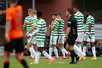 22nd August 2020; Tannadice Park, Dundee, Scotland; Scottish Premiership Football, Dundee United versus Celtic; Albian Ajeti of Celtic is congratulated after scoring for 0-1 by Ryan Christie