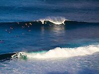 Surfers catch large waves at Honolua Bay, Maui.