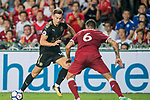 Leicester City FC forward Tom Lawrence (L) battles for the ball with Liverpool FC defender Dejan Lovren during the Premier League Asia Trophy match between Liverpool FC and Leicester City FC at Hong Kong Stadium on 22 July 2017, in Hong Kong, China. Photo by Weixiang Lim / Power Sport Images