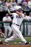 TCU's 1B Matt Curry against Florida State in Game 1 of the NCAA Division One Men's College World Series on Saturday June 19th, 2010 at Johnny Rosenblatt Stadium in Omaha, Nebraska.  (Photo by Andrew Woolley / Four Seam Images)