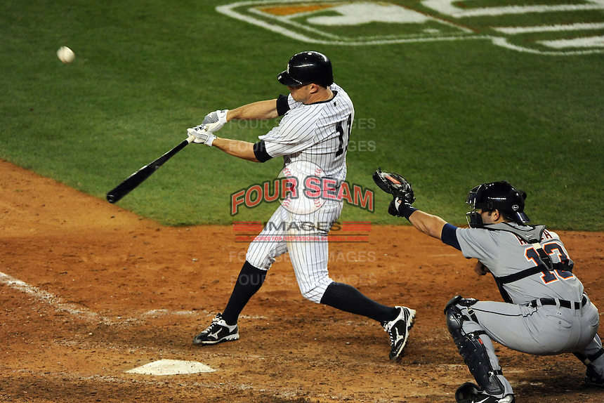 New York Yankees outfielder Brett Gardner #11 during ALDS game #5 against the Detroit Tigers at Yankee Stadium on October 06, 2011 in Bronx, NY.  Detroit defeated New York 3-2 to take the series 3 games to 2 games.  Tomasso DeRosa/Four Seam Images
