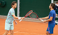 Paris, France, 02 ,10,  2020, Tennis, French Open, Roland Garros, Men's doubles: Wesley Koolhof (NED) (L) and Nilola Mektic (CRO)<br /> Photo: Susan Mullane/tennisimages.com