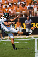 02 September 2006: University of North Texas punter Truman Spencer punts the ball on 4th down during the game against the University of Texas Longhorns at Darrell K Royal Memorial Stadium in Austin, TX.