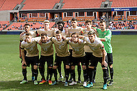 Houston, TX - Friday December 11, 2016: The Wake Forest Demon Deacons Starting XI at the NCAA Men's Soccer Finals at BBVA Compass Stadium in Houston Texas.