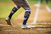 The socks of an AZL Brewers batter during a game against the AZL Athletics on August 18, 2017 at Lew Wolff Training Complex in Mesa, Arizona. AZL Brewers defeated the AZL Athletics 6-4. (Zachary Lucy/Four Seam Images)
