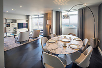 BNPS.co.uk (01202 558833)<br /> Picture: Savills/BNPS<br /> <br /> Pictured: The dining space and lounge.<br /> <br /> HOWZAT for a view?<br /> <br /> A luxury flat that has grandstand views of Lords cricket ground has gone on the market for £2.72m.<br /> <br /> The two-bed apartment is on the 11th floor of a building next to the 'home of cricket'.<br /> <br /> From the balcony, there are uninterrupted views of the cricket pitch.