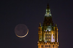 Crescent moon and Woolworth Building, New York City, New York, USA<br /> <br /> Canon EOS-1Ds Mark II, 70-200mm f/2.8 +2x lens, f/5.6 for 0.8 second, ISO 800