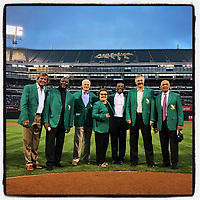 OAKLAND, CA - SEPTEMBER 5: iPhone Instagram of the Oakland Athletics Hall of Fame inaugural class Dennis Eckersley, Dave Stewart, Rickey Henderson, Rollie Fingers, Reggie Jackson and others posing for a picture on the field  before the game against the New York Yankees at the Oakland Coliseum on September 5, 2018 in Oakland, California. (Photo by Brad Mangin)