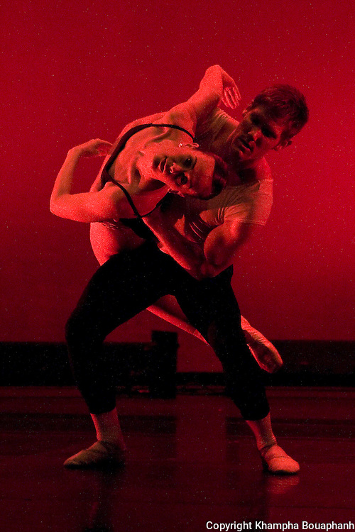 """Texas Dance Theatre dancers Emily Hunter and Dan Westfield perform in a piece called """"Webern Variations"""" at Scott Theater in Fort Worth on April 30, 2010.  (photo by Khampha Bouaphanh)"""