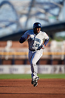 Lake County Captains first baseman Emmanuel Tapia (28) runs the bases during a game against the Quad Cities River Bandits on May 6, 2017 at Modern Woodmen Park in Davenport, Iowa.  Lake County defeated Quad Cities 13-3.  (Mike Janes/Four Seam Images)