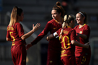 Vanessa Bernauer (2L) of AS Roma celebrates with team mates ( from left to right ) Annamaria Serturini, Giada Greggi and Jenny Bitzer after scoring second goal for her side during the Women Italy cup round of 8 second leg match between AS Roma and Roma Calcio Femminile at stadio delle tre fontane, Roma, February 20, 2019 <br /> Foto Andrea Staccioli / Insidefoto
