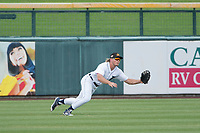 Mesa Solar Sox center fielder Cam Gibson (3), of the Detroit Tigers organization, attempts to make a diving catch during a game against the Salt River Rafters on October 18, 2017 at Sloan Park in Mesa, Arizona. The Rafters defeated the Solar Sox 6-5.(Zachary Lucy/Four Seam Images)