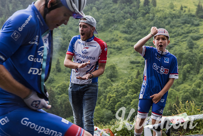 Arnaud Démare (FRA/Groupama-FDJ) cheered forward up the Col de la Colombière<br /> <br /> Stage 8 from Oyonnax to Le Grand-Bornand (150.8km)<br /> 108th Tour de France 2021 (2.UWT)<br /> <br /> ©kramon