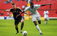 Action photo of Mitchell Weiser (L) of Germany and Alfred Koroma (R) of USA, during game of the FIFA Under 17 World Cup game, held at Queretaro.