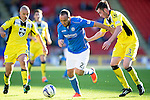 St Johnstone v St Mirren....04.10.14   SPFL<br /> Lee Croft gets between Jim Goodwin and Sean Kelly<br /> Picture by Graeme Hart.<br /> Copyright Perthshire Picture Agency<br /> Tel: 01738 623350  Mobile: 07990 594431