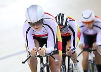 Southland's Kirstie James in the WE TP at the BikeNZ Elite & U19 Track National Championships, Avantidrome, Home of Cycling, Cambridge, New Zealand, Sunday, March 16, 2014. Credit: Dianne Manson