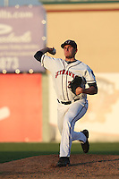 Joe Musgrove (34) of the Lancaster JetHawks throws in the bullpen before pitching during a game against the Lake Elsinore Storm at The Hanger on May 9, 2015 in Lancaster, California. Lancaster defeated Lake Elsinore, 3-1. (Larry Goren/Four Seam Images)