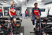 (L-R) Mike van der Hoorn and Tammy Abraham exercise in the gym during the Swansea City Training at The Fairwood Training Ground, Swansea, Wales, UK. Wednesday 21 February 2018