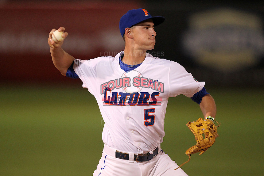 """Florida Gators Zach Powers #5 during a game vs. the Florida State Seminoles in the """"Florida Four"""" at George M. Steinbrenner Field in Tampa, Florida;  March 1, 2011.  Florida State defeated Florida 5-3.  Photo By Mike Janes/Four Seam Images"""