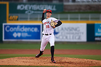 Lansing Lugnuts starting pitcher Fitz Stadler (35) during a Midwest League game against the Wisconsin Timber Rattlers at Cooley Law School Stadium on May 1, 2019 in Lansing, Michigan. Wisconsin defeated Lansing 2-1 in the second game of a doubleheader. (Zachary Lucy/Four Seam Images)