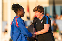Bradenton, FL - Sunday, June 12, 2018: CONCACAF awards, Melchie Dumonay, April Heinrich during a U-17 Women's Championship Finals match between USA and Mexico at IMG Academy.  USA defeated Mexico 3-2 to win the championship.