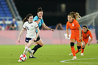 YOKOHAMA, JAPAN - JULY 30: Rose Lavelle #16 of the United States controls the ball during a game between Netherlands and USWNT at International Stadium Yokohama on July 30, 2021 in Yokohama, Japan.