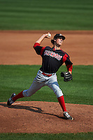 Batavia Muckdogs pitcher Jordan Holloway (56) delivers a pitch during a game against the Auburn Doubledays on September 7, 2015 at Falcon Park in Auburn, New York.  Auburn defeated Batavia 11-10 in ten innings.  (Mike Janes/Four Seam Images)