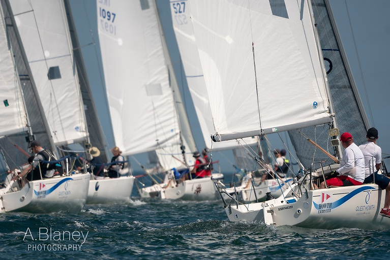 The J/80 fleet taking advantage of the steadily-sharpening sea breeze at Howth for the annual Aqua Restaurant Two-Hander Challenge