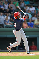 Right fielder Randy Encarnacion (23) of the Hagerstown Suns bats in a game against the Greenville Drive on Sunday, July 17, 2016, at Fluor Field at the West End in Greenville, South Carolina. Hagerstown won, 3-2. (Tom Priddy/Four Seam Images)