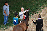 July 27, 2014: Majestic River has her tattoo read by the horse identifier as she arrives in the paddock. Majestic River, Rosie Napravnik up, wins the Grade II Molly Pitcher Stakes at Monmouth Park in Oceanport, NJ.  Trainer isTodd Pletcher; owners are George Bolton, Barry Lipman and Natrona Racing Stable.  ©Joan Fairman Kanes/ESW/CSM