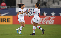 JACKSONVILLE, FL - NOVEMBER 10: Christen Press #23 and Mallory Pugh #2 of the United States celebrate during a game between Costa Rica and USWNT at TIAA Bank Field on November 10, 2019 in Jacksonville, Florida.