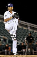 New Orleans Zephyrs pitcher Fabian Williamson (45) throws against the Albuquerque Isotopes in a game at Zephyr Field on May 28, 2015 in Metairie, Louisiana. (Derick E. Hingle/Four Seam Images)