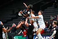 26th September 2020, Paris La Défense Arena, Paris, France; Champions Cup rugby semi-final, Racing 92 versus Saracens; Itoje (Saracens) wins the lineout ball