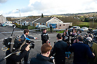 Tuesday 18 February 2014<br /> Pictured: Cheif Inspector Ieuan Matthews gives a statment to waiting press<br /> Re:A dog has been seized by police following the sudden death of a baby in Carmarthenshire.Officers say they had a call alerting them to the incident at a property in New Road, Pontyberem, shortly before 08:30 GMT on Tuesday.The baby was airlifted to the University Hospital of Wales, Cardiff, the Welsh Ambulance Service said.The dog involved in the incident was an Alaskan Malamute, similar to a Husky, which is not a banned breed.