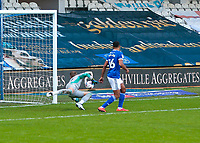 31st October 2020; The Kiyan Prince Foundation Stadium, London, England; English Football League Championship Football, Queen Park Rangers versus Cardiff City; Goalkeeper Alex Smithies of Cardiff City diving to make a save