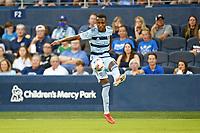 KANSAS CITY, KS - JULY 31: Gadi Kinda #17 Sporting KC with the ball during a game between FC Dallas and Sporting Kansas City at Children's Mercy Park on July 31, 2021 in Kansas City, Kansas.