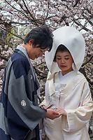 Japan, Okayama Prefecture, Kurashiki.Bride and groom.