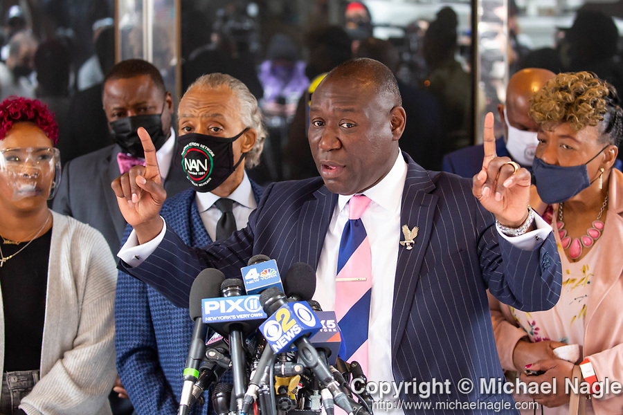 """Benjamin Crump, attorney for the family of Duante Wright, right of center, speaks at a press conference along with Reverend Al Sharpton, left of center, and members of the """"Mother's of the Movement"""" during the National Action Network (NAN) Virtual Convention 2021 in New York on Wednesday, April 14, 2021. Photograph by Michael Nagle"""