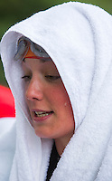 31 MAY 2014 - LONDON, GBR - A competitor waits for the start of the women's 2014 ITU World Triathlon Series round in Hyde Park, London, Great Britain (PHOTO COPYRIGHT © 2014 NIGEL FARROW, ALL RIGHTS RESERVED)