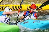 5th September 2021; Parc Olimpic del Segre, La Seu D'Urgell ICF Slalom World Cup, Men's  Extreme Slalom Semi-Finals;  S. Hengs (GER) and Friedensonk (USA)
